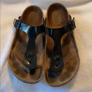 Birkenstock Gizeh Black Leather Sandals 38 7